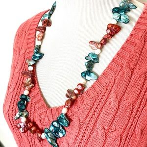 Abalone Shell Necklace Coral Blue